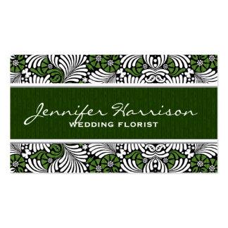 Plantilla verde y blanca retra de la tarjeta de tarjeta de negocio