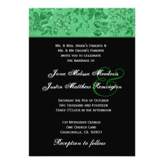 Plantilla verde y negra de Kelly del vintage del b Invitaciones Personales