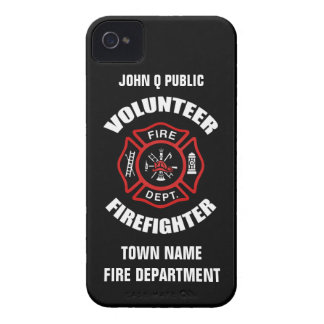 Plantilla voluntaria del nombre del bombero Case-Mate iPhone 4 fundas