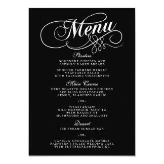 """Plantillas blancos y negros elegantes del menú del invitación 4.5"""" x 6.25"""""""