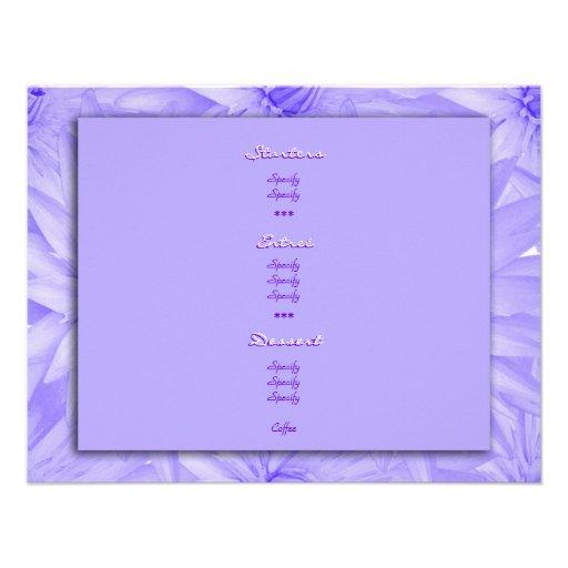 Plantillas del menú - púrpura adaptable lilly comunicado personalizado