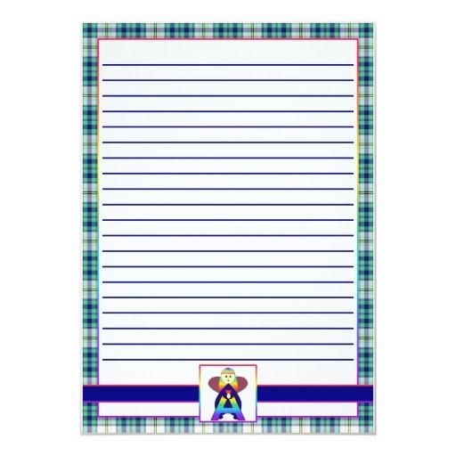 """Plantillas del papel de la zona del alfabeto invitación 5"""" x 7"""""""