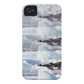 PLANTILLAS del TEXTO del fondo de la nieve de los iPhone 4 Protectores