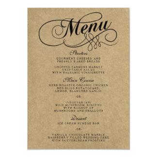 """Plantillas elegantes del menú del boda de Kraft Invitación 4.5"""" X 6.25"""""""