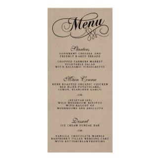 Plantillas elegantes del menú del boda de Kraft Tarjeta Publicitaria Personalizada