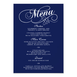 """Plantillas elegantes del menú del boda de los invitación 4.5"""" x 6.25"""""""