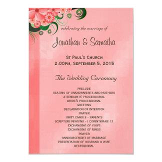 """Plantillas florales rosadas del programa del boda invitación 5"""" x 7"""""""