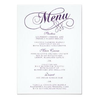 """Plantillas púrpuras y blancas elegantes del menú invitación 4.5"""" x 6.25"""""""