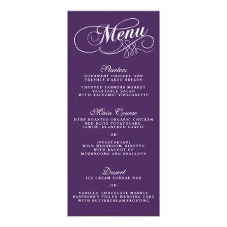 Plantillas púrpuras y blancas elegantes del menú tarjeta publicitaria personalizada