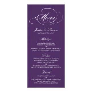 Plantillas púrpuras y blancas elegantes del menú tarjetas publicitarias a todo color