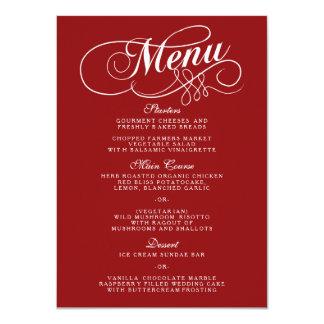 """Plantillas rojas y blancas elegantes del menú del invitación 4.5"""" x 6.25"""""""