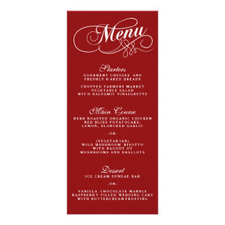 Plantillas rojas y blancas elegantes del menú del lonas