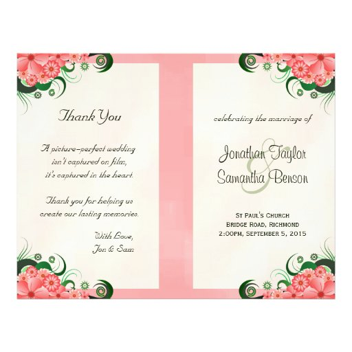 """Plantillas rosadas florales del programa del boda folleto 8.5"""" x 11"""""""