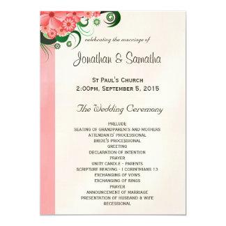 """Plantillas rosadas florales del programa del boda invitación 5"""" x 7"""""""