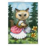 Planting Daffodils - Cute Cat Card