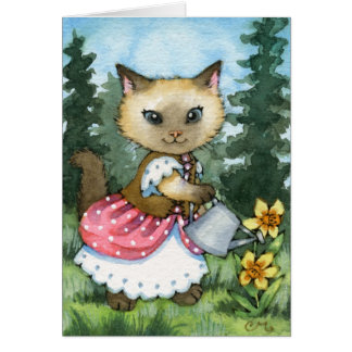 Planting Daffodils - Cute Cat Card