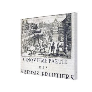 Planting fruit trees, from 'Le Parfait Jardinier, Canvas Print