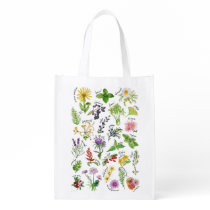 Plants and Herbs Alphabet Grocery Bag
