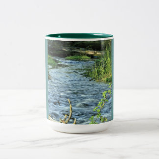 Plants and Water Imagery Two-Tone Coffee Mug