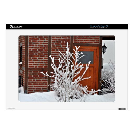 """Plants Covered With Snow 15"""" Laptop Decal"""