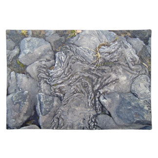Plants Growing On Lava Rocky Surface Place Mats