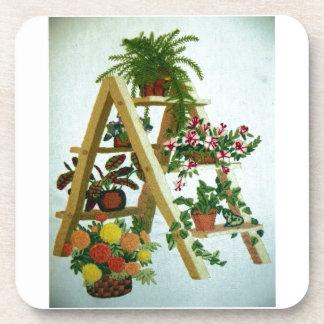 Plants On Ladder Needlepoint Drink Coasters