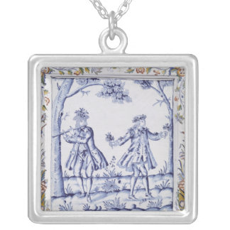Plaque depicting a scene from 'The Magic Flute' Silver Plated Necklace