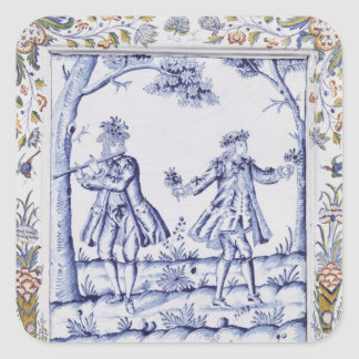 Plaque depicting a scene from 'The Magic Flute' Square Sticker