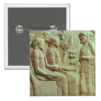 Plaque depicting an offering c 450 BC Pinback Buttons