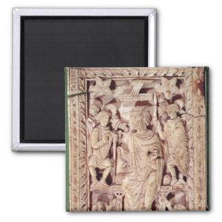 Plaque depicting King David enthroned Fridge Magnets