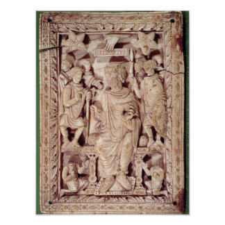Plaque depicting King David enthroned Poster