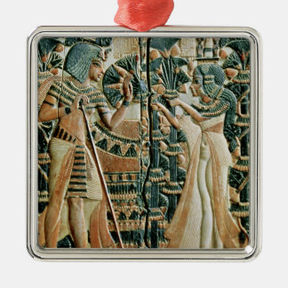 Plaque from the lid of coffer showing christmas ornament