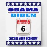Plaque Obama/Biden:Calendar: Secure Your Economy