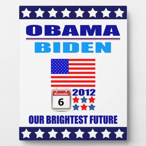 Plaque Obama/Biden: Flag: Our Brightest Future
