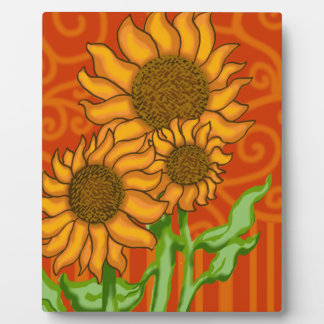 Plaque with Easel/Sunflower Trio