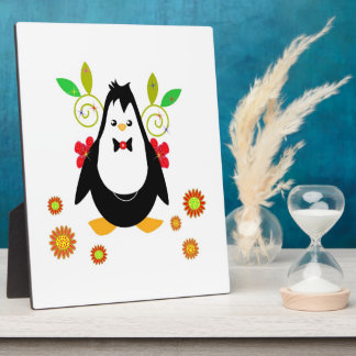 Plaque with penguin party