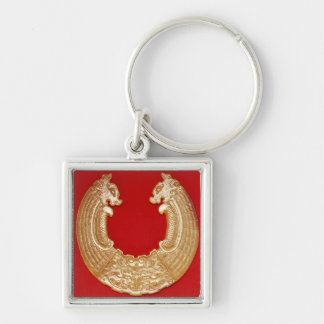 Plaque with two dragons and a Tao-tie mask Keychain