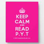[Crown] keep calm and read p.y.t  Plaques