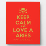 [Skull crossed bones] keep calm and love a aries  Plaques