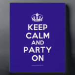 "Plaques<br><div class=""desc"">Based on the original Keep Calm and ...  poster this cream and blue Keep Calm and Party On Plaque features a custom designed font that matches the original closely.</div>"