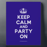 """Plaques<br><div class=""""desc"""">Based on the original Keep Calm and ...  poster this cream and blue Keep Calm and Party On Plaque features a custom designed font that matches the original closely.</div>"""