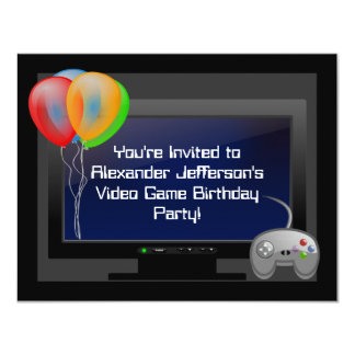 "Plasma Video Game Gaming Birthday Party Invitation 4.25"" X 5.5"" Invitation Card"