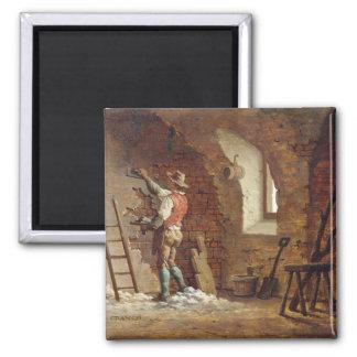 Plasterer, c.1807 (oil on panel) 2 inch square magnet