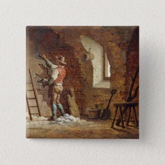 Plasterer, c.1807 (oil on panel) pinback button