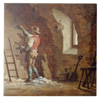 Plasterer, c.1807 (oil on panel) ceramic tile
