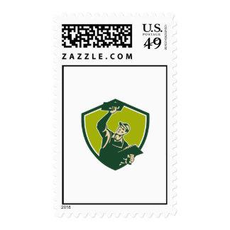 Plasterer Mason Worker Trowel Shield Retro Stamps