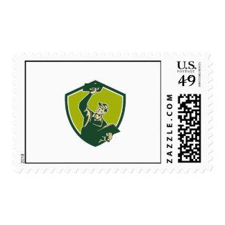 Plasterer Mason Worker Trowel Shield Retro Postage Stamp