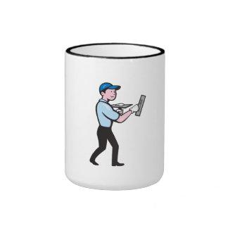 Plasterer Masonry Worker Trowel Cartoon Ringer Mug