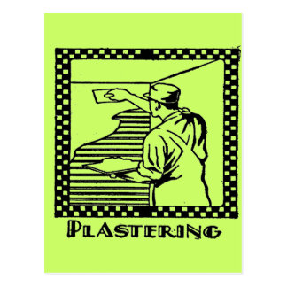plastering postcard