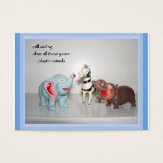 Plastic Animals ACEO Haiku Art Trading Card ------